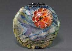 Handmade Lampwork focal silver glass flower by ikuyoglassart, $40.00