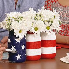 Clinton's Patriotic Centerpiece #craft  Make this festive red, white, and blue centerpiece for your party and it will quickly become the talk of the party!