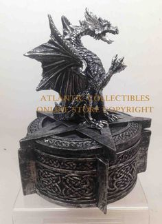 Celtic Dragon on Pentagram Sign Jewelry Box Trinket Figurine Office Decor Statue