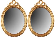 Vintage French Oval Mirrors. Would use them as frames instead of mirrors. I am obsessed with oval shaped vintage frames!