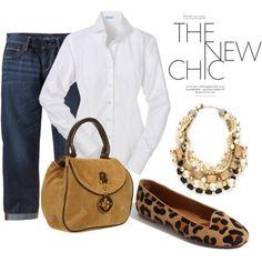 Simple, simple…white button down shirt, jeans & leopard shoes