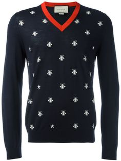 ee1e51733 GUCCI Bee Intarsia V-Neck Jumper.  gucci  cloth  jumper