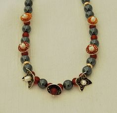Necklace,Hematite and Cornelian beads 7 enamelled drops by Sheila McDonald