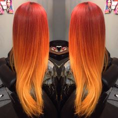 Beautiful fiery red to orange to yellow ombré using only wella color! Fire hair …