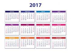 Kalendar 2017 simple and printable