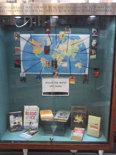 Around the world with books display at Jesmond Library
