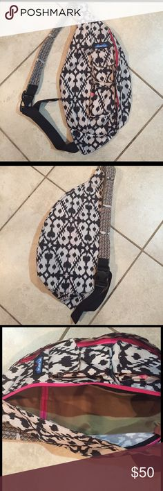 New! Kavu Ikat Rope Crossbody Back Pack Bag Brand new Kavu Ikat print Rope Crossbody Back Pack bag. Super cute! Black and white Ikat print with pink accents. Lots of pockets. Adjustable Crossbody strap. No trades- make me an offer! Top rated and top 10% seller! kavu Bags Backpacks