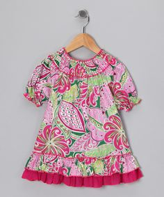 Take a look at this Pink Paisley Smocked Ruffle Dress - Toddler & Girls on zulily today!