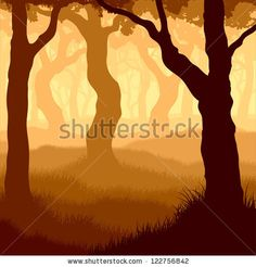 Vector illustration of many tree trunks within forest with grass and sunshine. - stock vector