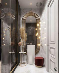 Luxury Bathroom Vanities, Luxury Master Bathrooms, Modern Master Bathroom, Bathroom Design Luxury, Minimalist Bathroom, Modern Luxury Bathroom, Bathroom Lighting Design, White Bathrooms, Bathroom Mirrors