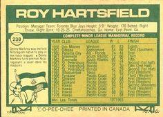 1977 O-Pee-Chee #238 Roy Hartsfield Back