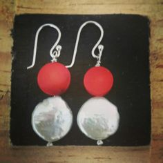 Silver pearl and coral earrings