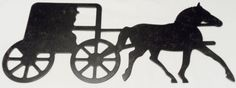 Amish-Art-Wall-Hanging-Horse-Buggy-Metal-silhouette-Country-Farm-home-decor