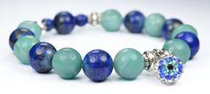 Check out this item in my Etsy shop https://www.etsy.com/listing/125893103/amazonite-lapis-lazuli-stretch-bracelet