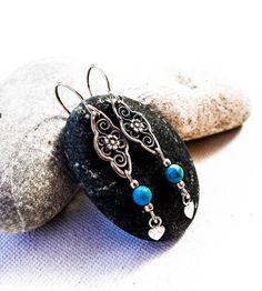 Vintage silver and Turquoise dangle earrings, sterling silver filigree art Handmade, Boho, Filigree, Silver, gift for her, Turquoise, gift