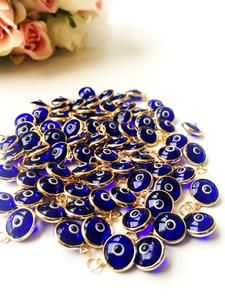 100 pcs Blue evil eye beads, bulk set nazar boncuk, evil eye charm, evil eye connectors, revil eye n Evil Eye Jewelry, Evil Eye Necklace, Necklace Charm, White Beads, Blue Beads, Cute Jewelry, Beaded Jewelry, Jewellery, Diy Jewelry Supplies