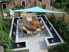 Cementtiles outside - Azule 01 Maroc - Project van Designtegels. Back Gardens, Outdoor Gardens, Outdoor Patios, Outdoor Tiles, Outdoor Decor, Encaustic Tile, My Secret Garden, Moorish, Garden Inspiration