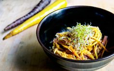 Heirloom Carrot Pasta With a Sunflower Cheese Sauce [Vegan, Gluten-Free]   One Green Planet