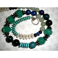 GEMSTONE NECKLACE, HANDCRAFTED Chunky Gemstone Necklace, Jade Lapis... ($41) ❤ liked on Polyvore featuring jewelry, necklaces, gem necklace, jade jewelry, blue gemstone necklace, silver jewelry and silver turquoise necklace