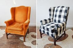 A client brought in a vintage wing back for reupholstery in Clarke & Clarke's black and white gingham print, Dana. We love how sharply graphic the formerly tired chair is looking in its new digs! Furniture, Reupholstery, Funky Furniture, My Furniture, Redo Furniture, Chair, Armchair, Upholstered Box Springs, Furniture Design
