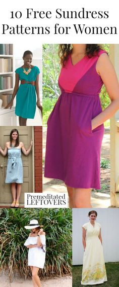 Sew one of these 10 Free Sundress Patterns for Women - Save money on your summer wardrobe by making dresses with these free sundress sewing patterns. DIY summer clothes tutorial. Summer fashion for women. Handmade summer style ideas.