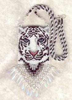 beaded handbag with tiger