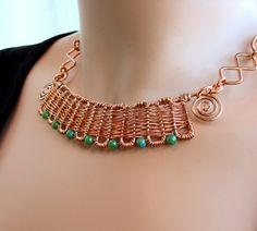 Inca - HandWoven Copper and Jade Set