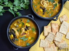 Chicken & Pumpkin Soup. 1 T evoo, 1 med onion, 2 cloves garlic, 5 cups chicken broth, 1 large chicken breast, 1 can pumpkin puree, 1 can black beans,1/2 cup corn, 1-2 chipotle peppers in adobo sauce, 1 T cumin, 1/2 t salt, 1/2 bunch cilantro