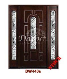 Dark Walnut Exterior Fiberglass Door with Sidelites 440 | Darpet Interior Doors for Chicago Builders