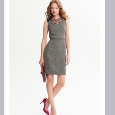 "HP! Banana Republic Piped Tweed Sheath Dress Banana republic black combo sleek shift in a lightweight tweed for all seasons. High neckline. Sleeveless. Shoulder insets. Piped waist. Exposed back zip. Center back vent. Fully lined. Body length 36.5"". New with tags.  2/24/15 Office Style Party Host Pick  Banana Republic Dresses"