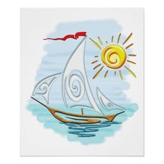 Tribal Tattoo Watercolor Sailboat Poster