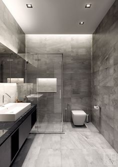 Discover the very best modern bathroom ideas, designs & inspiration to match your style. Browse through images of modern bathroom decor & colours to develop you bathroom design Grey Bathrooms Designs, Bathroom Layout, Modern Bathroom Design, Bathroom Interior Design, Bathroom Ideas, Restroom Ideas, Small Bathrooms, Contemporary Interior, Modern Bathrooms