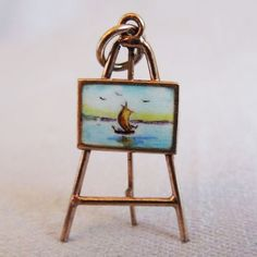 Vintage Sterling Silver and Enamel Charm, Artist Easel and Painting.