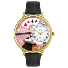 Whimsical Watches Unisex G0420006 Magic Black Leather Watch Whimsical Watches. $40.99. Quality Japanese-quartz movement. Black Italian leather strap. Secure buckle-clasp. Plastic crystal covering themed-dial. White, Magic-theme dial