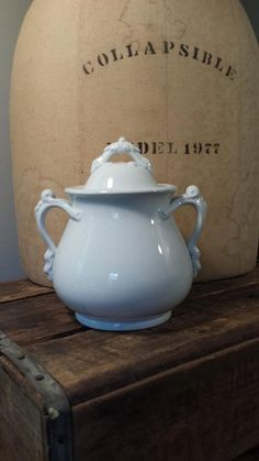 White Ironstone Biscuit Jar Antique Ironstone by ElisabethMacBeth, $68.00