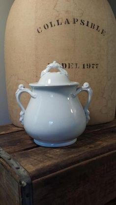 White Ironstone Biscuit Jar Antique Ironstone by ElisabethMacBeth