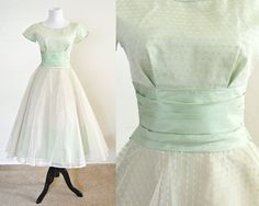 1950s Tulle and Taffeta Prom Party Dress in by YellowBeeVintage