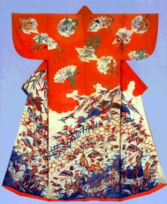 Kosode with design of scenes from The Tale of Genji Paste-resist dyeing (Yuzen) and embroidery on parti-colored silk crepe (chirimen)    This is an excellent piece believed to have been produced in the mid-18th century ~AmyLH~