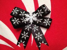 Xmas Holiday Snow flake Hair Bow Black White by ClassyNTrashy, $4.00