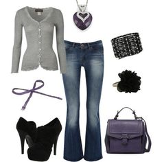 Polyvore Casual Outfits | casual and cute. grey purple black. by Khandi
