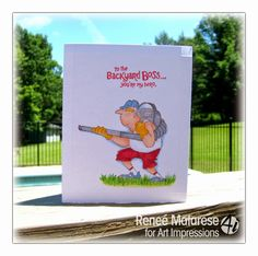 Art Impressions Rubber Stamps: Ai Heroes Backyard Boss! Handmade masculine card for birthday, Father's Day etc.