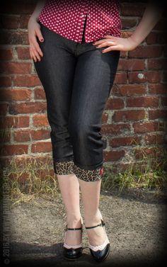 Rumble59 Ladies Denim - Black Capri Jeans - Leopatch