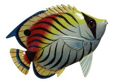 Tropical Butterfly Fish Wall Plaque Beach Deck Kid Wall Decor 6 inch TFW17