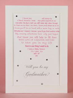 Will you be my Godmother, Godfather request, gift for Godparents by UniqueWordsJersey on Etsy