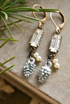 Winter forest. rhinestone drop,pinecone,woodland earrings. tiedupmemories