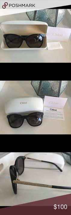 Chloe Sunglasses Original Black Chloe sunglasses with international guarantee certificate, case, and cleaning cloth. Glasses are made in Italy and are in like new condition. Crystals line the side of the frames. These glasses go with everything! Chloe Accessories Glasses