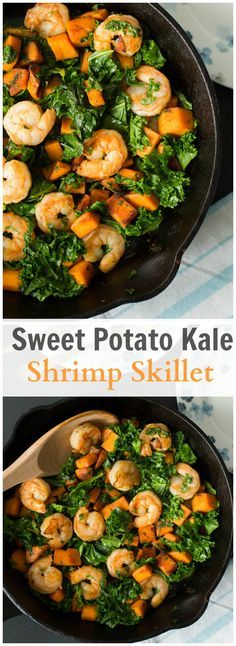 This Sweet potato, Kale and Shrimp Skillet is gluten-free and healthy easy dish without scarfing in flavour! Enjoy! primaverakitchen.com
