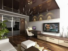 Living Room Furniture Interior. Cozy Interior Living Space TV Room Design Ideas. Modern Apartment Interior Living Office Room Design Come With Long Wooden Low Console And Office Desk And Wall Mounted Wide Screen Tv Unit Plus Ivory Leather Swivel Office Chair Together With White Leather Sectional Sofa With Ottoman As Well As Laminated Wood Flooring Plus Silver Modern Chandelier. Tv Room Design