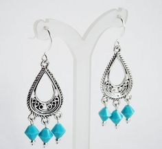 Dangle Earrings Turquoise and Silver by DebsTurquoiseZebra on Etsy