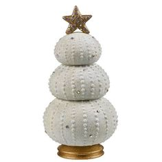 """DESCRIPTION Celebrate Christmas in coastal style with this sea urchin Christmas tree! DETAILS & DIMENSIONS - Cement/acrylic - 7 3/4"""" x 3 3/4"""" x 3 3/4"""" - Weights approx. 1.2 lbs"""
